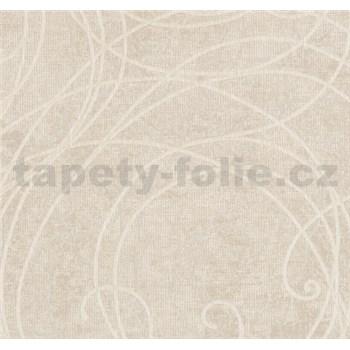 Luxusní vliesové tapety na zeď Merino ornamenty na metalickém béžovém podkladu