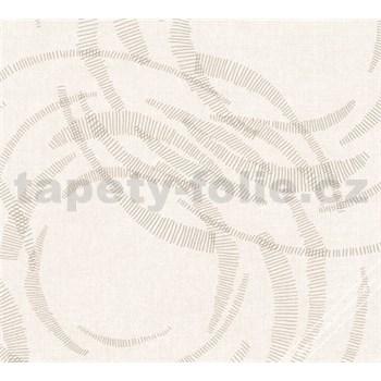 Luxusní vliesové tapety na zeď Merino moderní metalické kruhy krémové