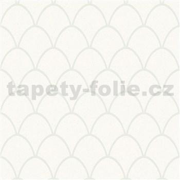 Vliesové tapety na zeď New Spirit skandinávský vzor, bílé s perlovými odlesky a třpytkami