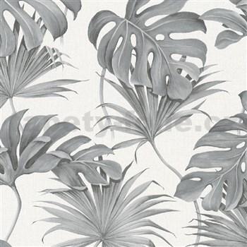 Vliesové tapety na zeď New Spirit palmové listy a monstera šedé na bílém podkladu