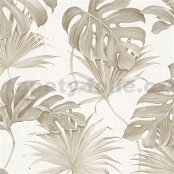 Vliesové tapety na zeď New Spirit palmové listy a monstera hnědé na bílém podkladu