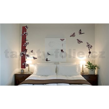 Samolepky na zeď motýli s květy