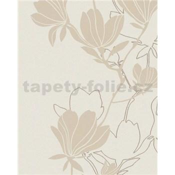 Vliesové tapety na zeď Summer Time květy béžovo-zlaté
