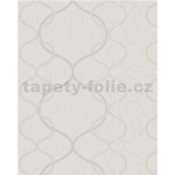 Vliesové tapety na zeď Summer Time vlnovky krémové, stříbrné, bílé na krémovém podkladu