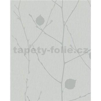 Vliesové tapety na zeď Summer Time větve s listy šedo-stříbrné