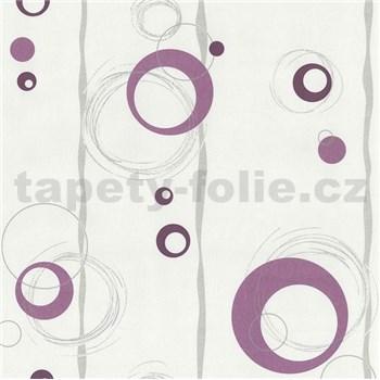 Vliesové tapety na zeď kolečka fialové