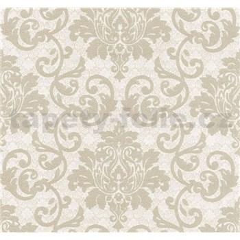 Vliesové tapety na zeď Florence zámecký vzor světle hnědý na stříbrno-bílém podkladu - POSLEDNÍ KUSY