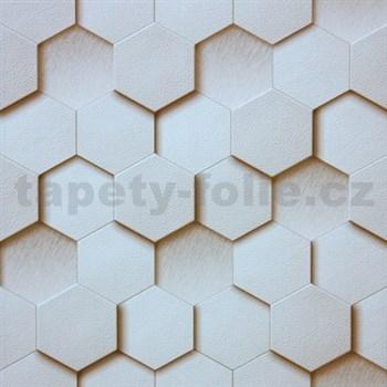 Vliesové tapety na zeď Kinetic 3D plástev světle hnědá