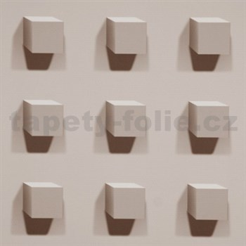 Vliesové tapety na zeď Kinetic 3D kostky světle hnědé