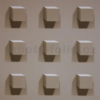 Vliesové tapety na zeď Kinetic 3D kostky hnědé