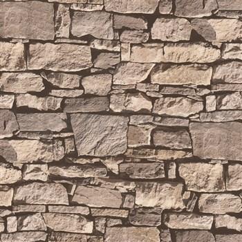 Vinylové tapety Virtual Reality kamenná zeď hnědá