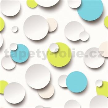 Vliesové tapety na zeď Just Like It 3D kuličky bílé, modré, zelené
