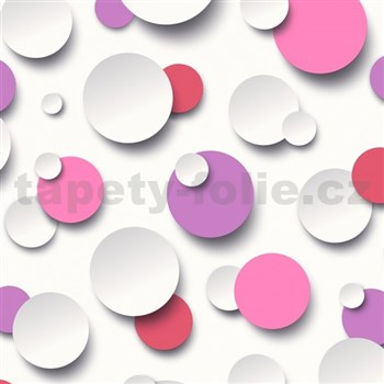 Vliesové tapety na zeď Just Like It 3D kuličky bílé, růžové, fialové