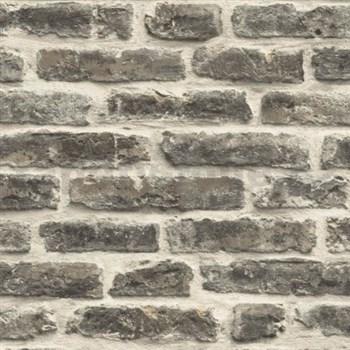 Vliesové tapety na zeď Roll in Stones kamenná zeď hnědá