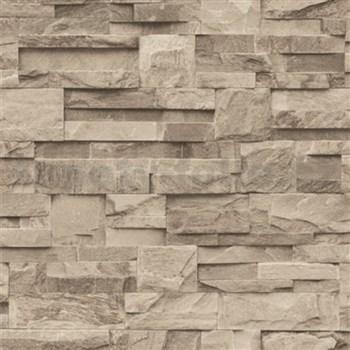 Vliesové tapety na zeď Roll in Stones kamenný obklad hnědo-šedý