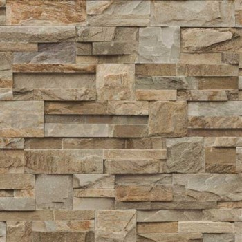 Vliesové tapety na zeď Roll in Stones kamenný obklad hnědo-béžový