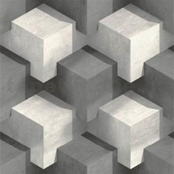 Vliesové tapety na zeď PRISME 3D kostky bílo-černé