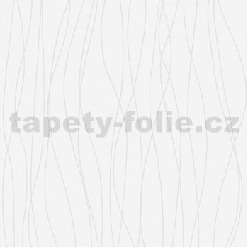 Vliesové tapety na zeď IMPOL vlnovky stříbrné na bílém strukturovaném podkladu