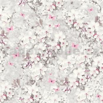 Vliesové tapety na zeď IMPOL bílé květy s lesklými detaily s motýly