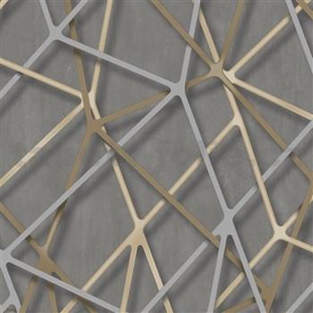 Vliesové tapety na zeď IMPOL Galactik 3D hrany béžovo-stříbrné na hnědém podkladu