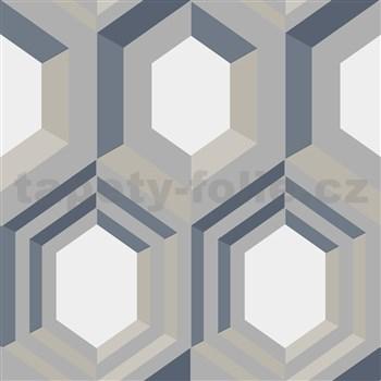 Vliesové tapety na zeď IMPOL Galactik geometrický vzor stříbrno-modro-béžový