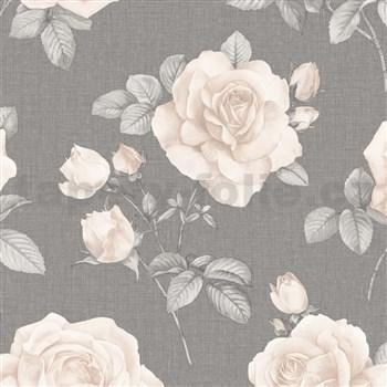 Papírové tapety na zeď IMPOL krémové růže na šedém podkladu