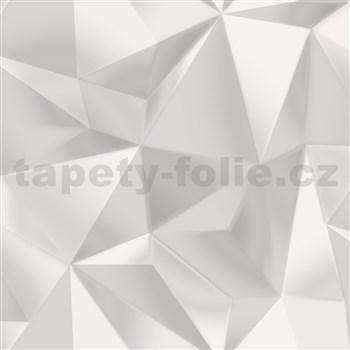 Vliesové tapety na zeď IMPOL 3D nepravidelné jehlany bílo-šedé