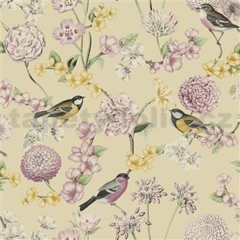 Vliesové tapety na zeď IMPOL Escapade florální vzor s ptáky na krémovém podkladu