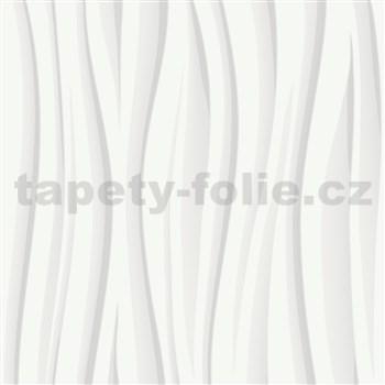 Vliesové tapety na zeď IMPOL šedo-bílé vlnovky s třpytkami