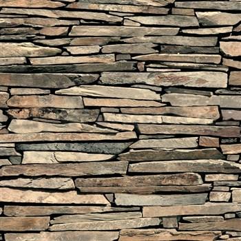 Papírové tapety na zeď IMPOL ukládaný kámen hnědý