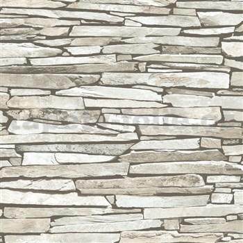 Papírové tapety na zeď IMPOL ukládaný kámen šedý