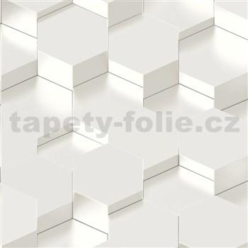 Vliesové tapety na zeď IMPOL Galactik 3D hexagony kovově bílé
