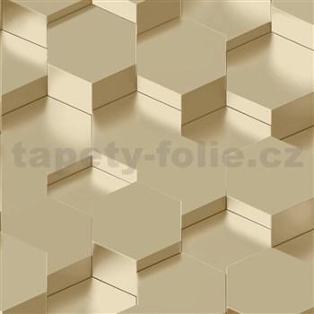 Vliesové tapety na zeď IMPOL Galactik 3D hexagony zlatavě hnědé