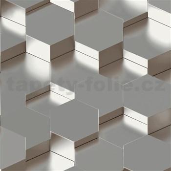 Vliesové tapety na zeď IMPOL Galactik 3D hexagony kovově hnědo-šedé