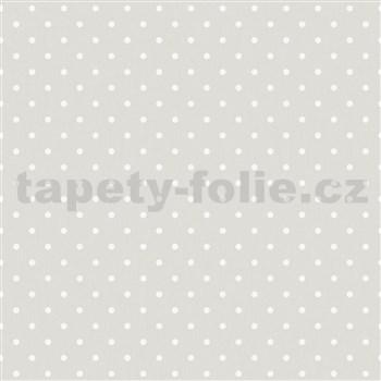 Vliesové tapety na zeď IMPOL bílé puntíky na šedém podkladu - POSLEDNÍ KUSY