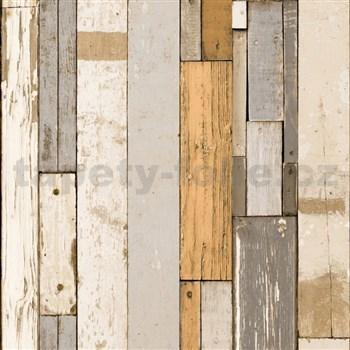 Vliesové tapety na zeď Virtual Vision dřevěné latě hnědé