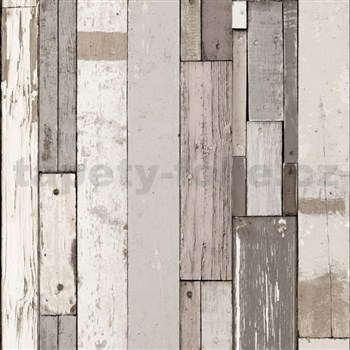 Vliesové tapety na zeď Virtual Vision dřevěné latě světle hnědé
