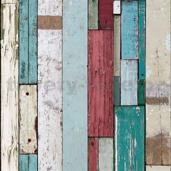 Vliesové tapety na zeď Virtual Vision dřevěné latě hnědo-zelené
