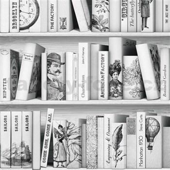 Vliesové tapety na zeď Virtual Vision knihovna šedo-bílá