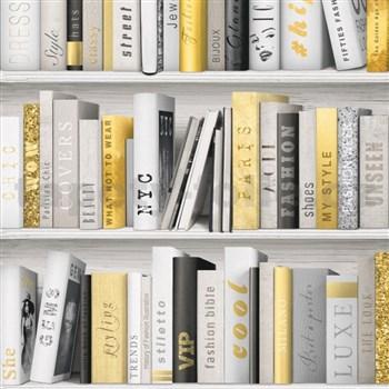 Vliesové tapety na zeď Virtual Vision knihovna šedo-žlutá