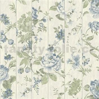 Vliesové tapety na zeď Virtual Vision dřevěné latě s květy modré