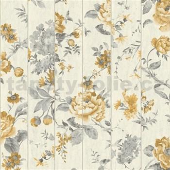 Vliesové tapety na zeď Virtual Vision dřevěné latě s květy okrové