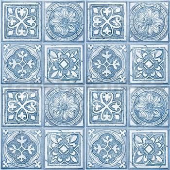 Vliesové tapety na zeď Virtual Vision obklad s ornamentem modrý