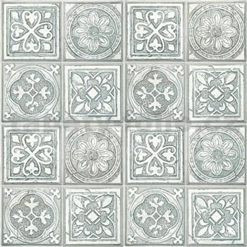Vliesové tapety na zeď Virtual Vision obklad s ornamentem šedo-zelený