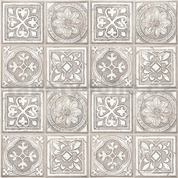 Vliesové tapety na zeď Virtual Vision obklad s ornamentem hnědý