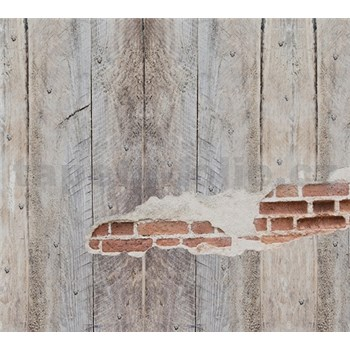 Luxusní vliesové fototapety prkenná stěna s cihlami BEZ TEXTU, rozměr 300 cm x 270 cm