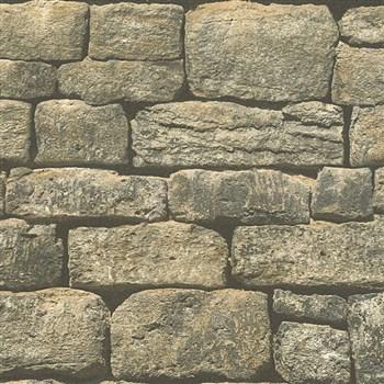 Vliesové tapety na zeď IMPOL Wood and Stone 2 oblý ukládaný kámen hnědý