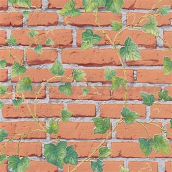 Vliesové tapety na zeď IMPOL Wood and Stone 2 cihlová stěna s popínavým břečťanem