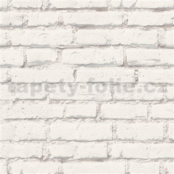 Vliesové tapety na zeď IMPOL Wood and Stone 2 cihly bílé s šedou spárou