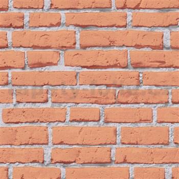 Vliesové tapety na zeď IMPOL Wood and Stone 2 cihly oranžové s šedou spárou